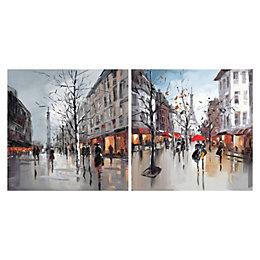 Paris Street Scenes Multicolour Canvas Art Set (W)40cm