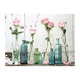 Roses In Vase Pastel Shades Canvas Art (W)80cm