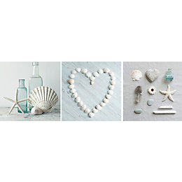 Shells & Hearts Neutral Canvas Art Set (W)20cm