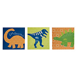Dino Doodles Multicolour Canvas (W)20cm (H)20cm Set of