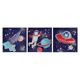 Starship Multicolour Canvas (W)20cm (H)20cm Set of 3