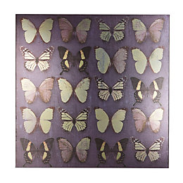 Metallic Butterflies Purple Canvas (W)57cm (H)57cm