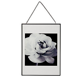 Cabbage Rose Black & White Hanging Framed Print