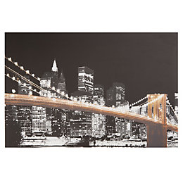Brooklyn Bridge Skyline Black, White & Gold Canvas