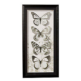 Butterflies Black & White Framed Art (W)30cm (H)60cm