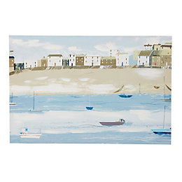 Fishermans Tale Blue & White Canvas (W)40cm (H)40cm