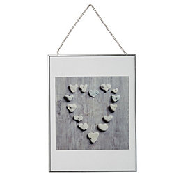 Pebble Heart Grey Framed Print (W)30cm (H)40cm
