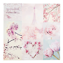 Paris In Spring Pink Canvas (W)80cm (H)80cm