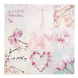 Paris In Spring Pink Canvas (W)80cm (H)80cm