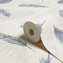 Arthouse Plume Blue & Cream Feathers Wallpaper
