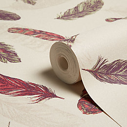 Arthouse Plume Raspberry & Green Feathers Wallpaper