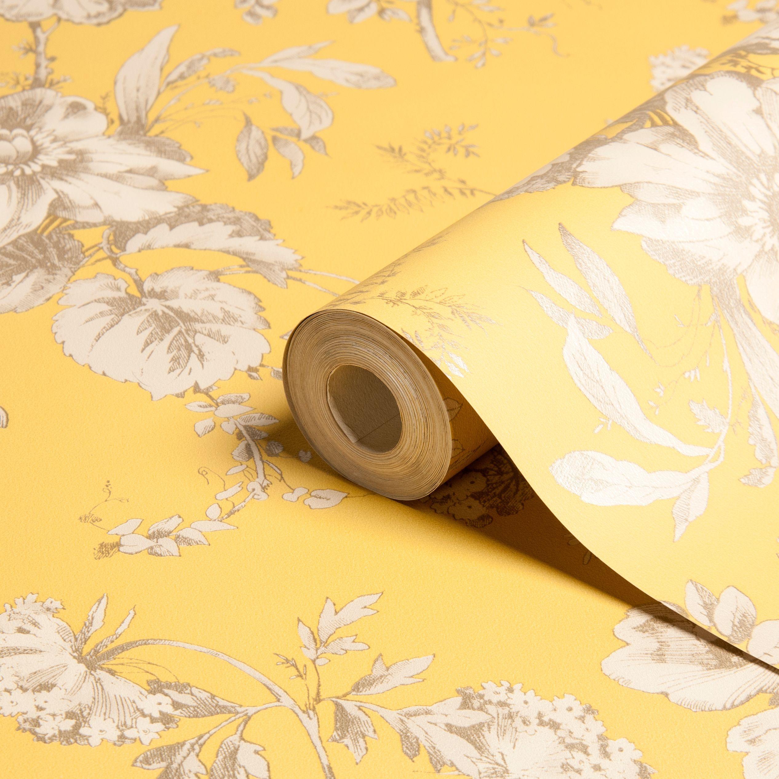 Arthouse Vintage Fleurette Gold Effect Floral Wallpaper