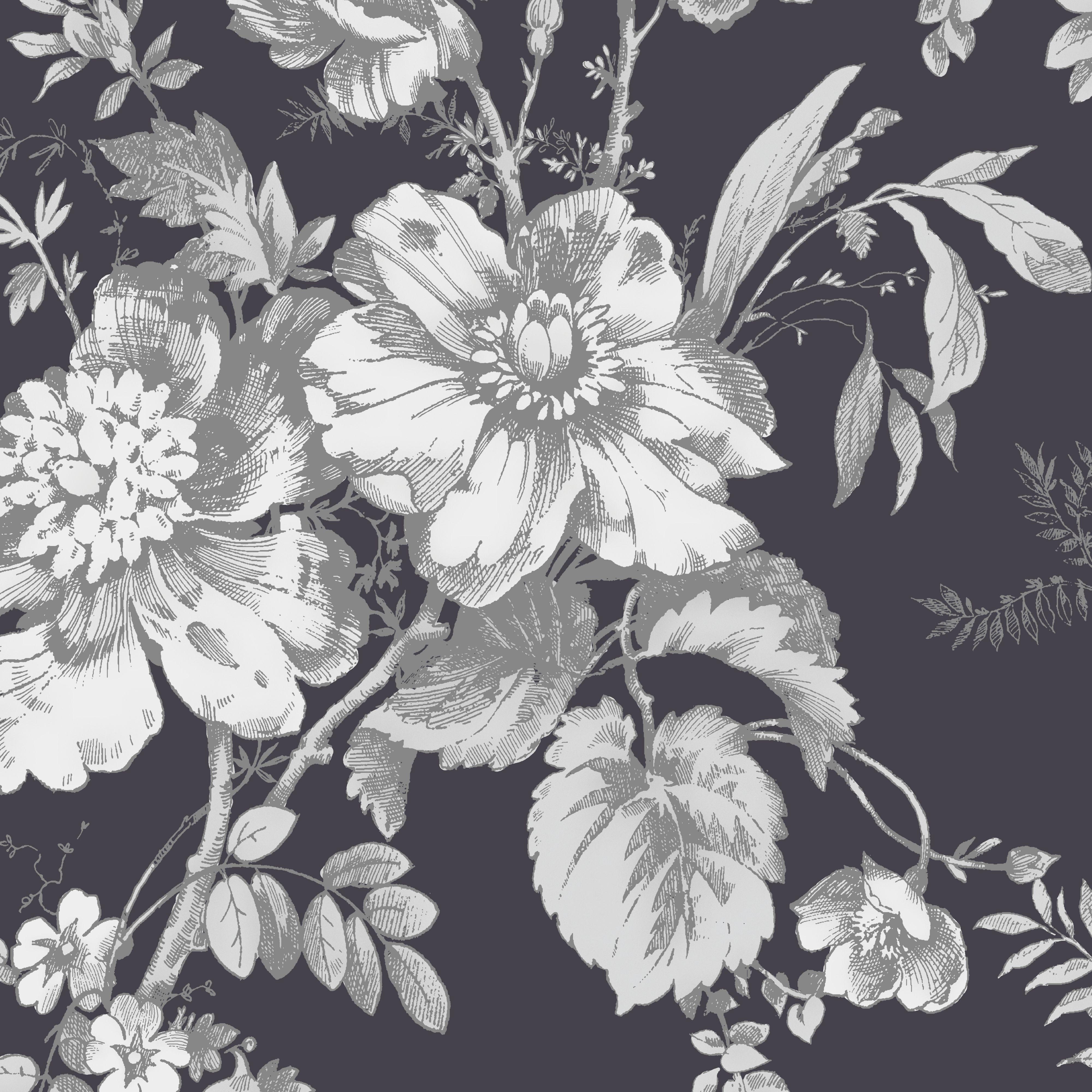 Arthouse Vintage Fleurette Grey Amp White Wallpaper