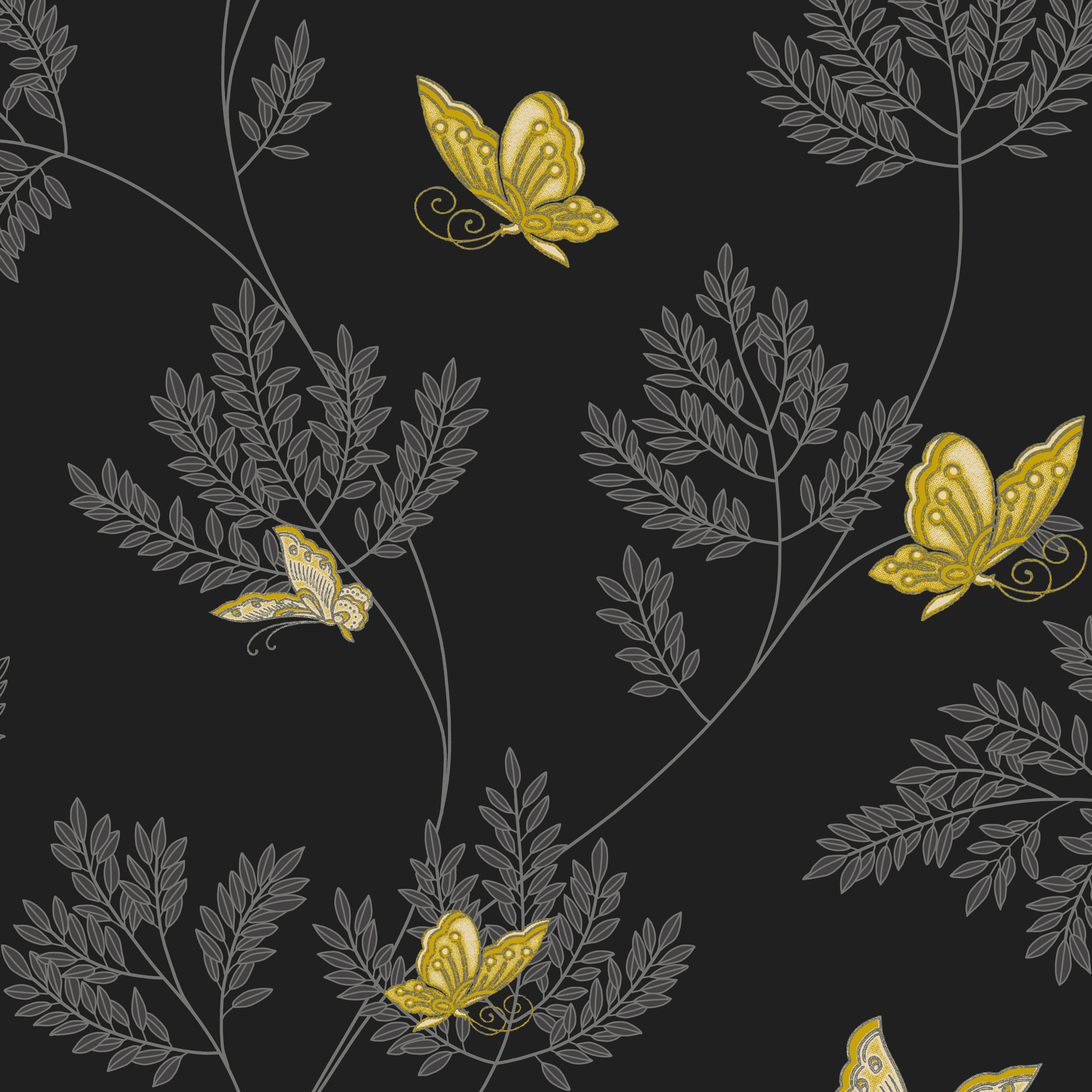 Opera hermione black grey yellow floral butterflies for Black white and grey wallpaper