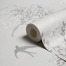 Arthouse Willow Song Grey Trees Glitter Effect Wallpaper