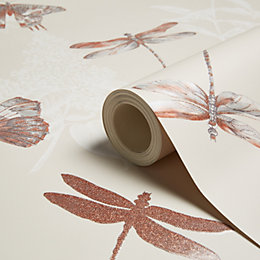 Arthouse Enchanted Wings Copper Insects Glitter Effect Wallpaper