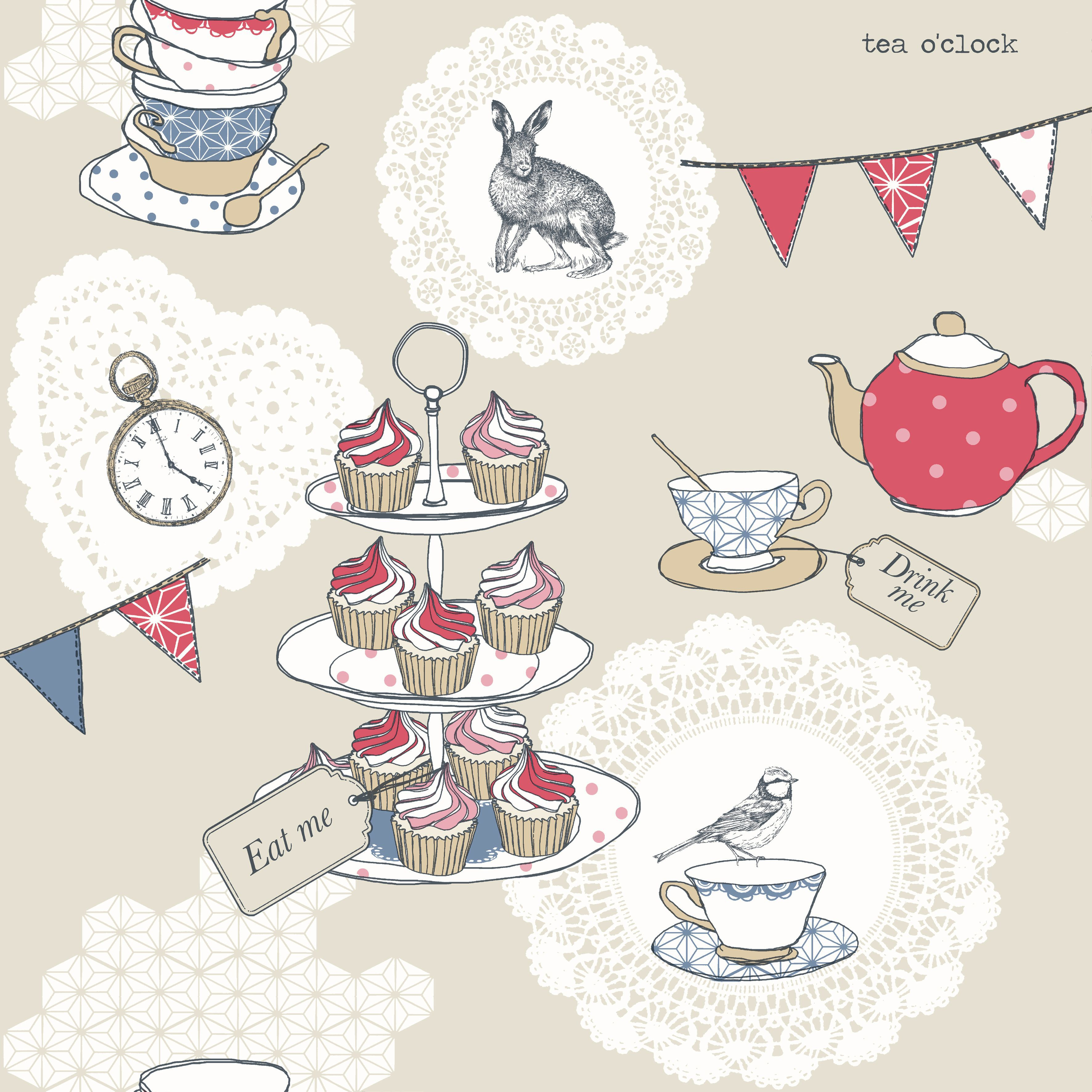 Kitchen Tea Background: Arthouse Vintage Cream & Red Tea Party Glitter Effect