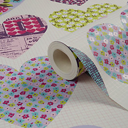 Imagine Fun Patchwork Hearts Printed Wallpaper