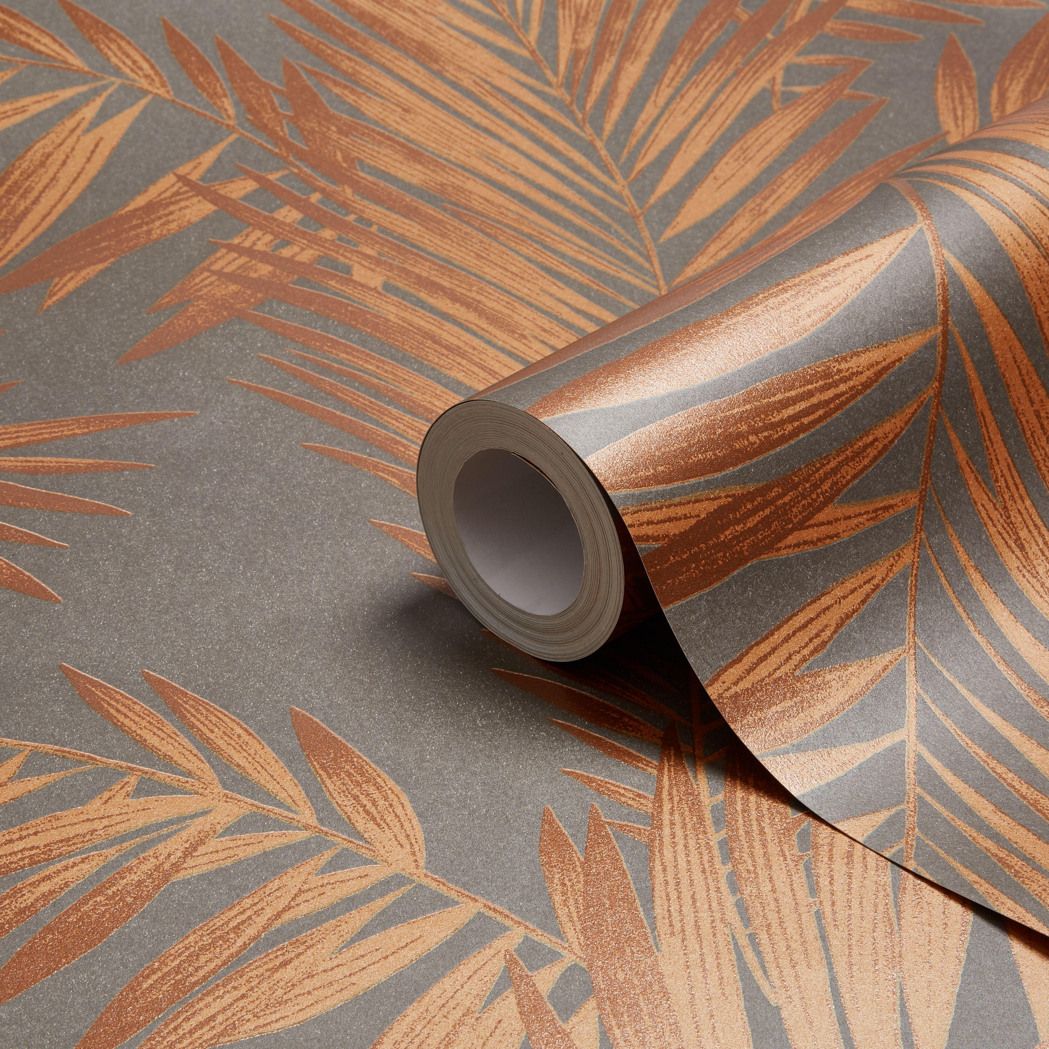 arthouse cressida copper grey leaves glitter effect. Black Bedroom Furniture Sets. Home Design Ideas