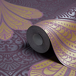 Arthouse Alberti Elderberry Fan Damask Glitter Effect Wallpaper