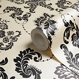 Arthouse Boutique Dalmation Damask Glitter Effect Wallpaper