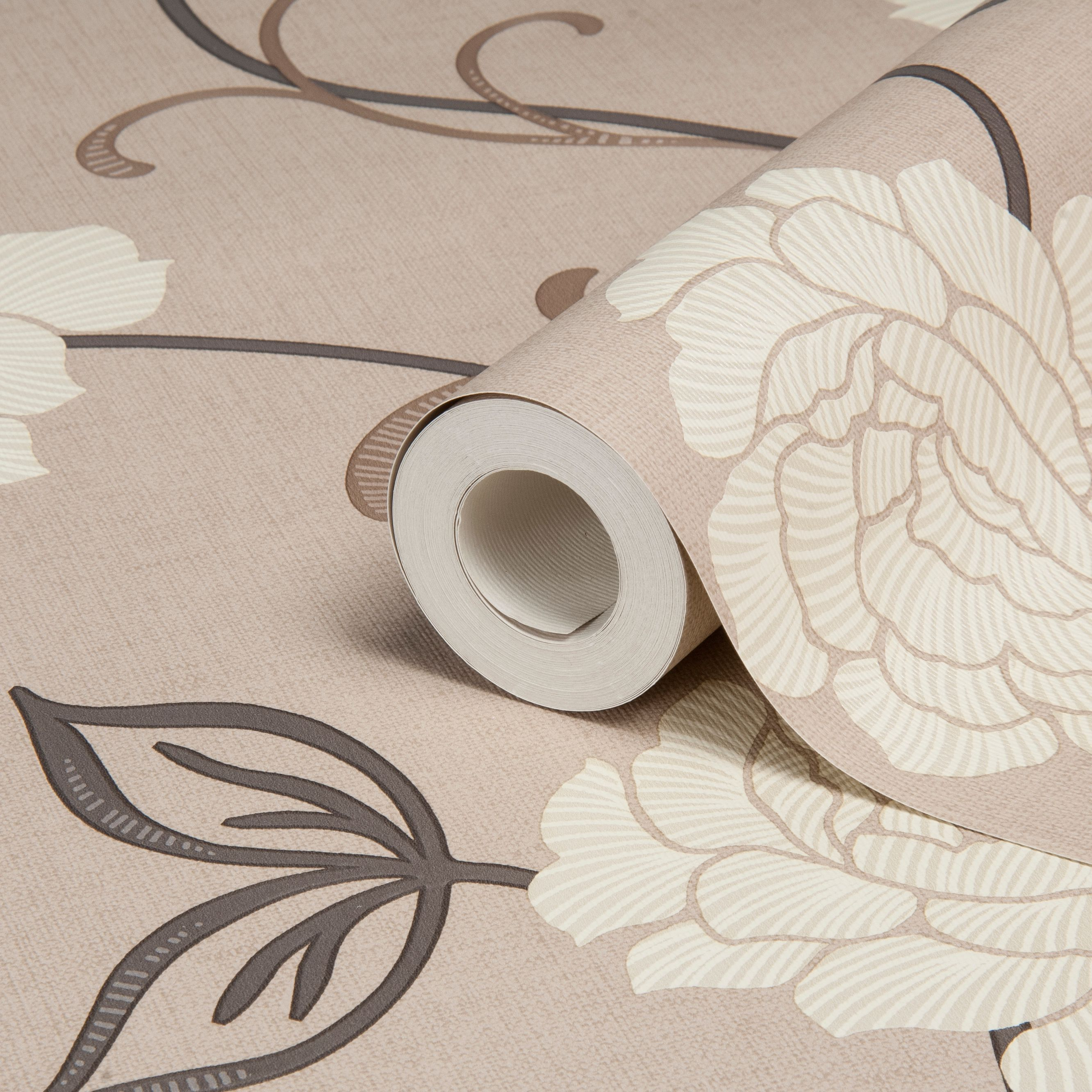 Arthouse Opera Lauren Brown Cream Floral Wallpaper Clearance - Brown and cream wallpaper
