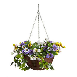 Smart Garden Artificial Pansy Hanging Basket 300 mm