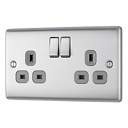 British General 13A Brushed Steel Switched Double Socket