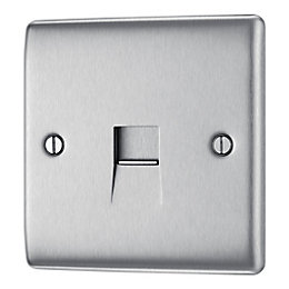 Nexus 1-Gang Raised Brushed Steel Telephone Socket