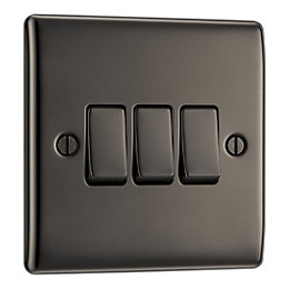 British General 10A 2-Way Triple Black Nickel Light