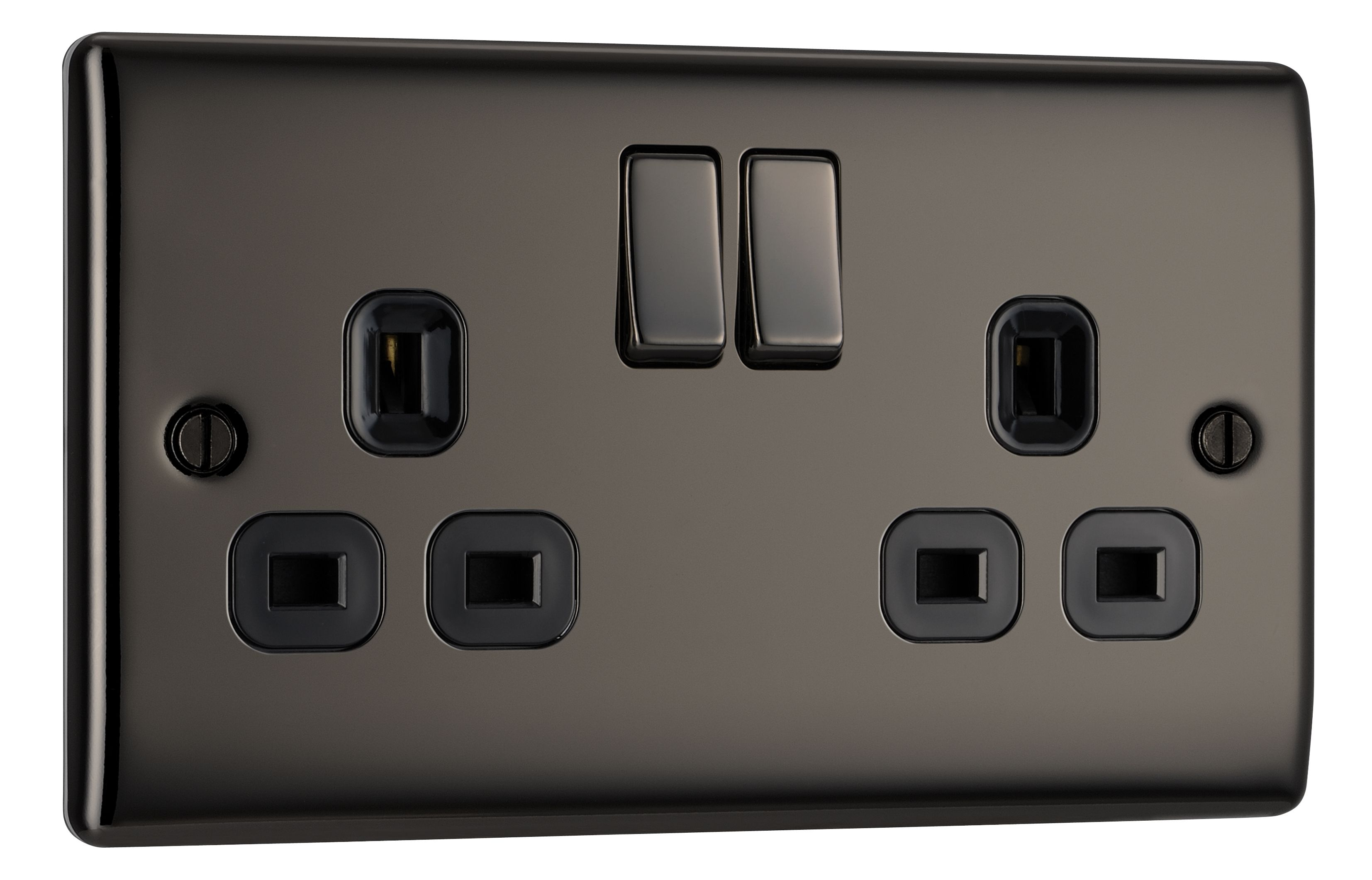ideas for lights on a outdoor garage - British General 13A Black Nickel Switched Double Socket