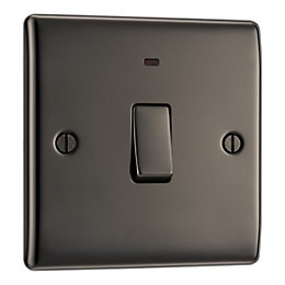British General 20A Single Black Nickel Light Switch