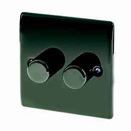 British General 2-Gang 2-Way Black Nickel Dimmer Switch
