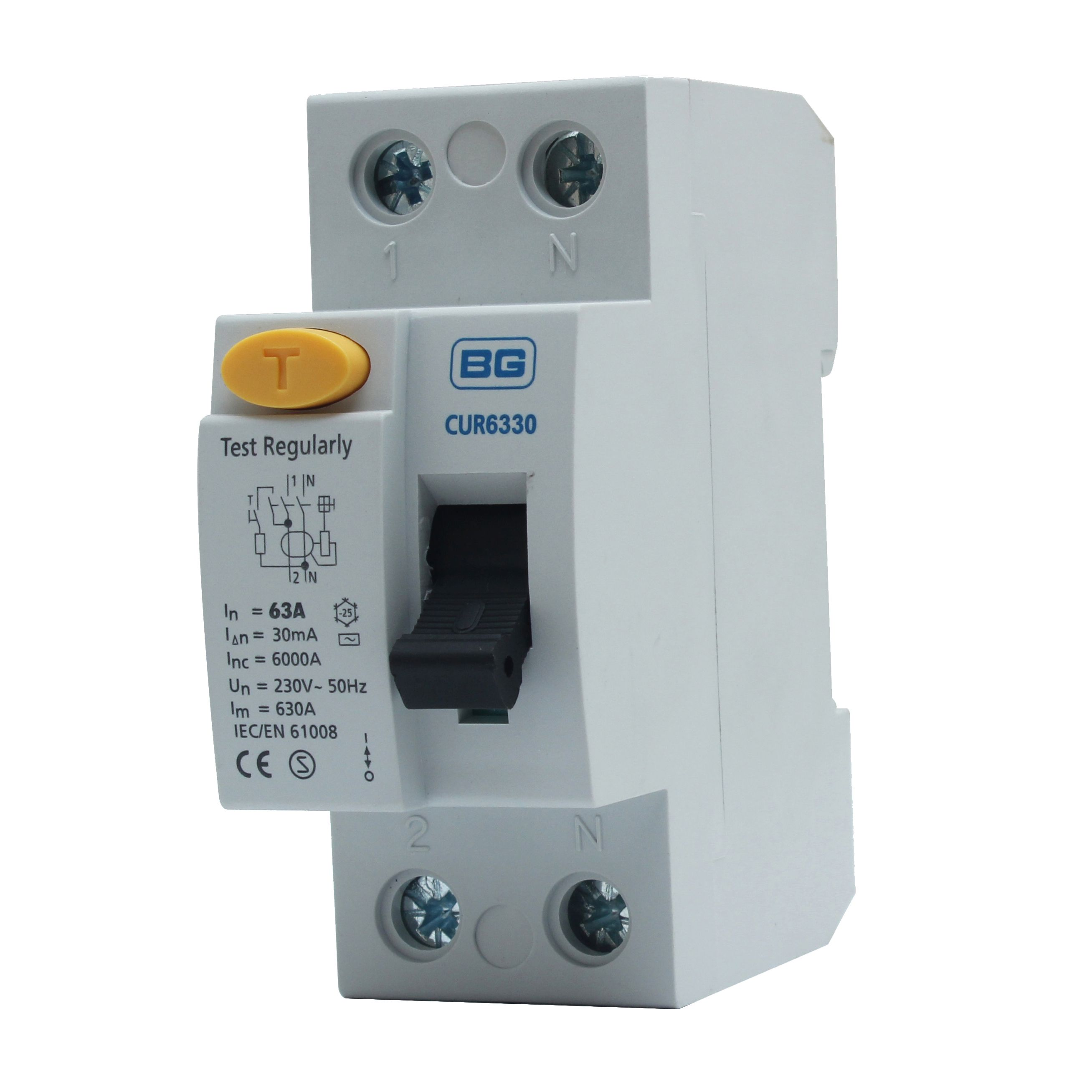consumer units circuit breakers earth meter tails home wiring bg 63a double pole 230 400v 30ma rcd