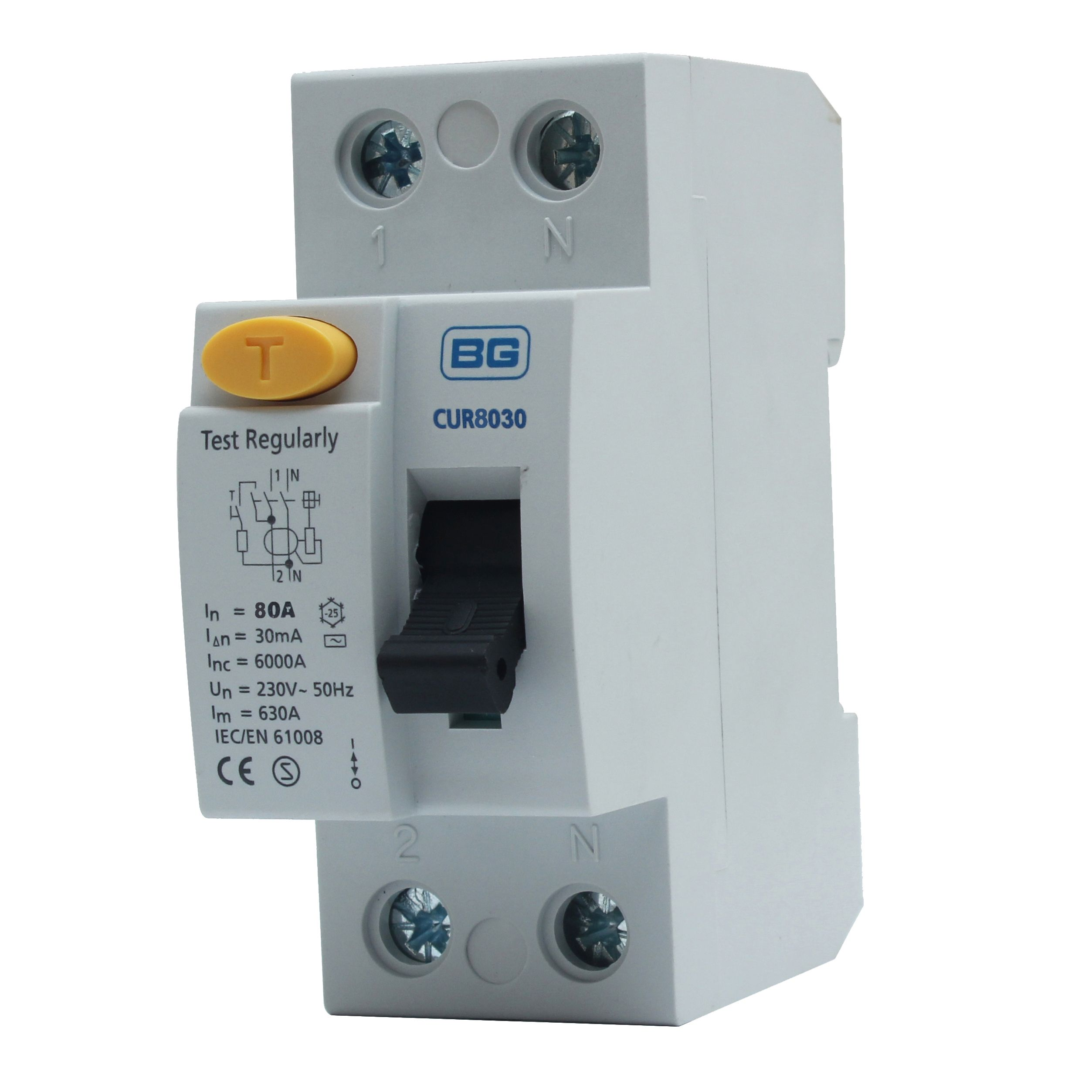 Bg 80a double pole 230 400v 30ma rcd departments diy at b&q on rcd mcb wiring diagram Electronic Device Furniture Motor Starter Wiring Diagram