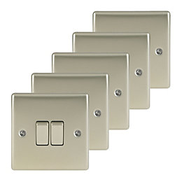 Nexus 10A 2-Way Double Pearl Nickel Light Switch,