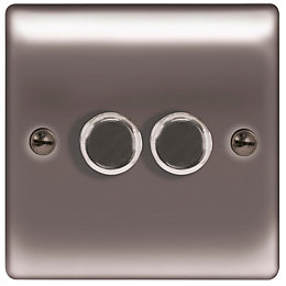 British General 2-Way Double Black Nickel Dimmer Switch