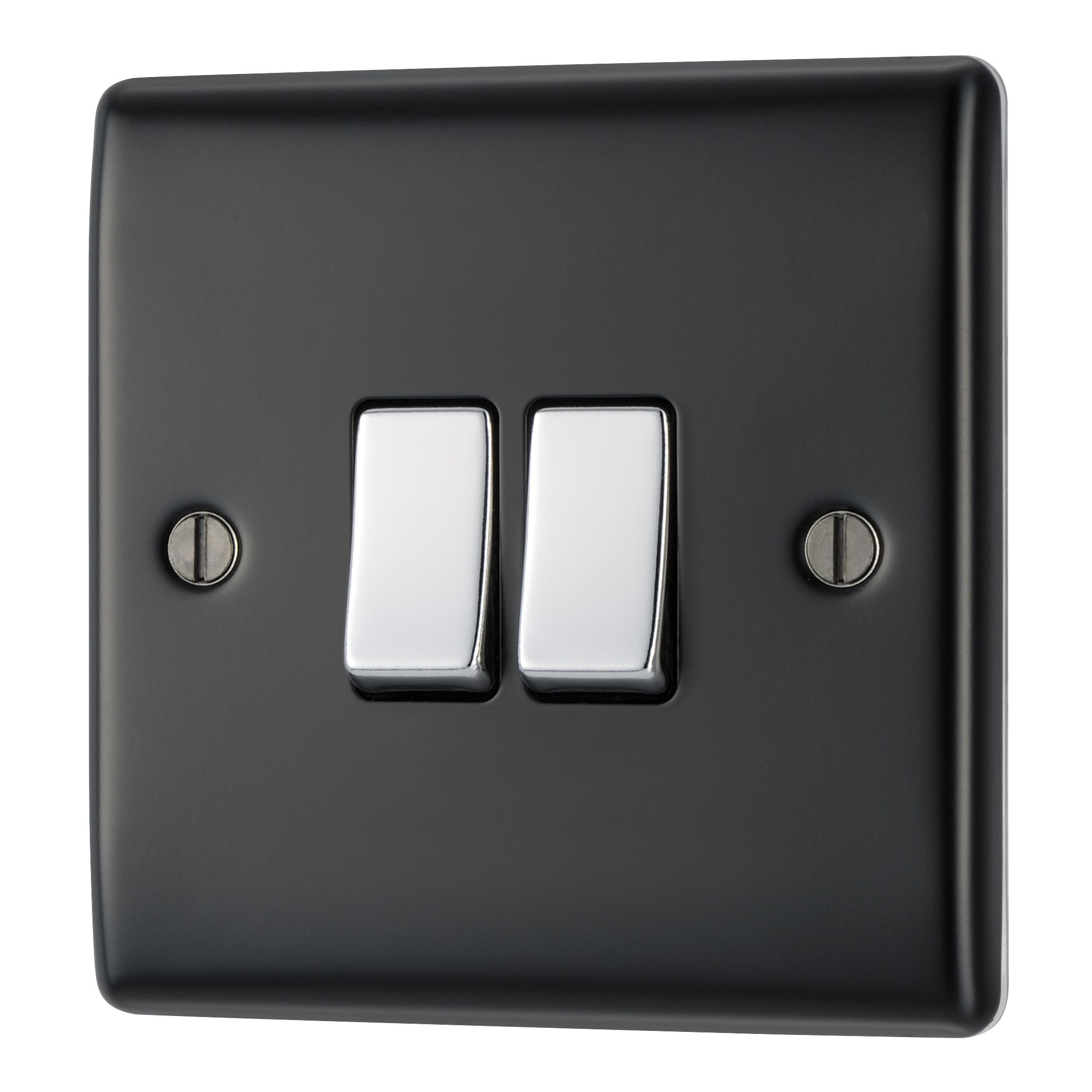 British General 10ax 2-way Double Black 2 Gang Switch