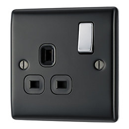 British General 13A Double Pole Black Switched Socket