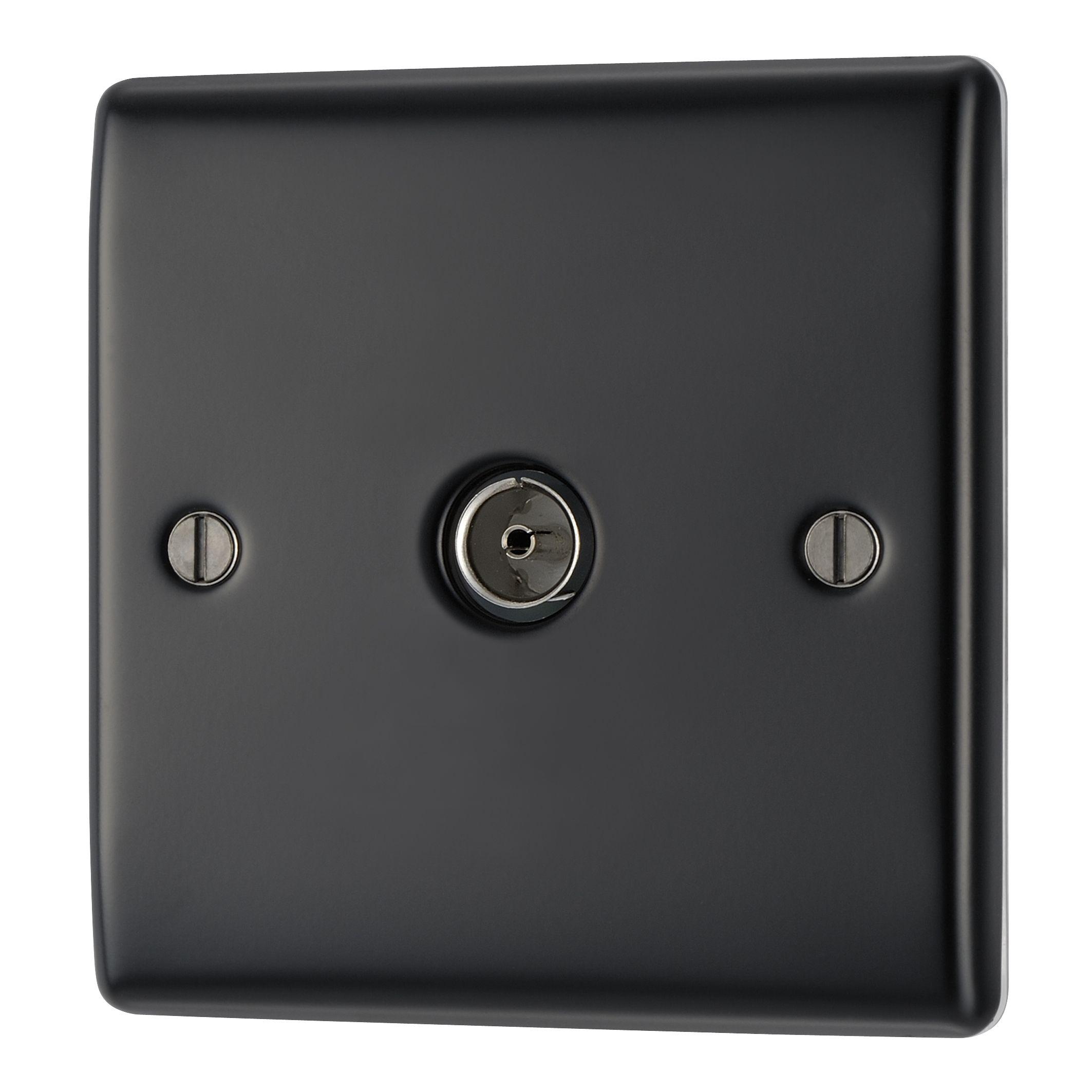 British General Low Profile Black Steel Single Coaxial Socket