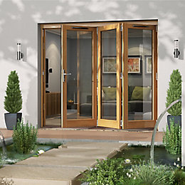 Golden Oak Timber Glazed Sliding Folding Patio Door,