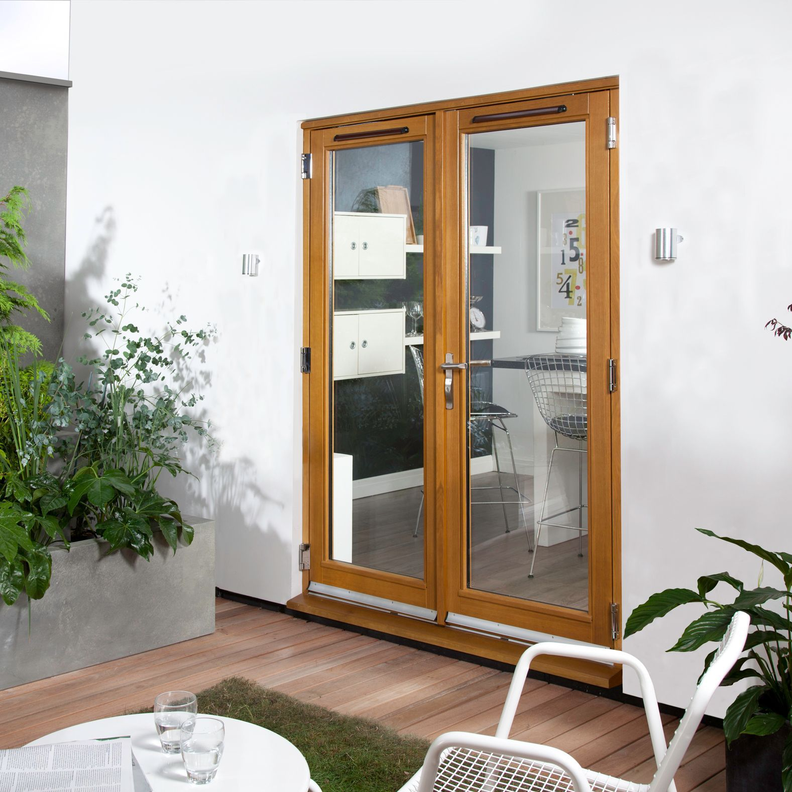 Clear Glazed Solid Laminated Oak External French Door Set, (h)2105mm (w)1205mm