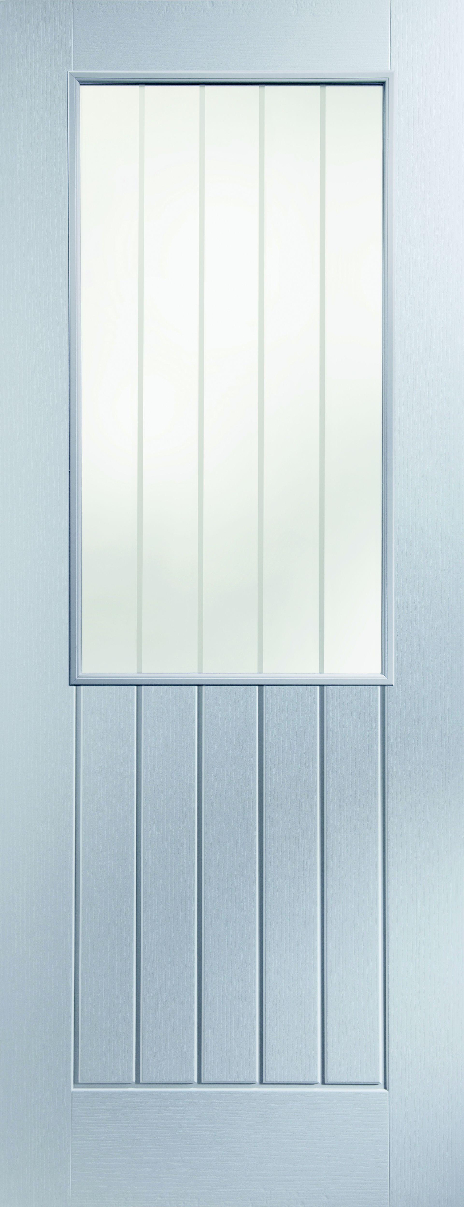 Cottage Panel Primed Woodgrain Glazed Internal Standard Door, (H)1981mm  (W)762mm | Departments | DIY At Bu0026Q