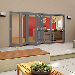 Grey Timber Glazed Sliding Folding Patio Door, (H)2094mm