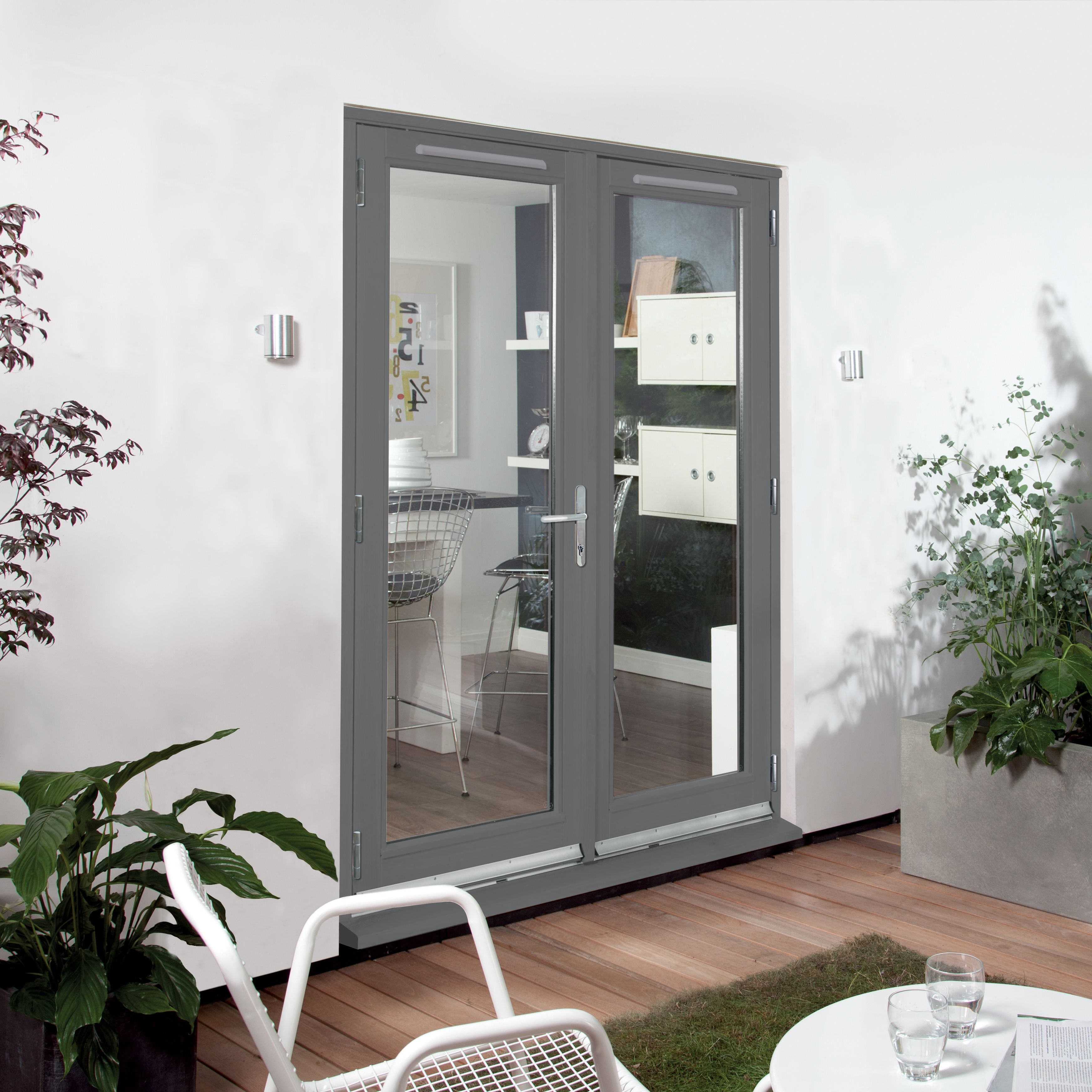 Clear Glazed Grey Fully Finished Timber External French Door Set, (h)2094mm (w)1494mm