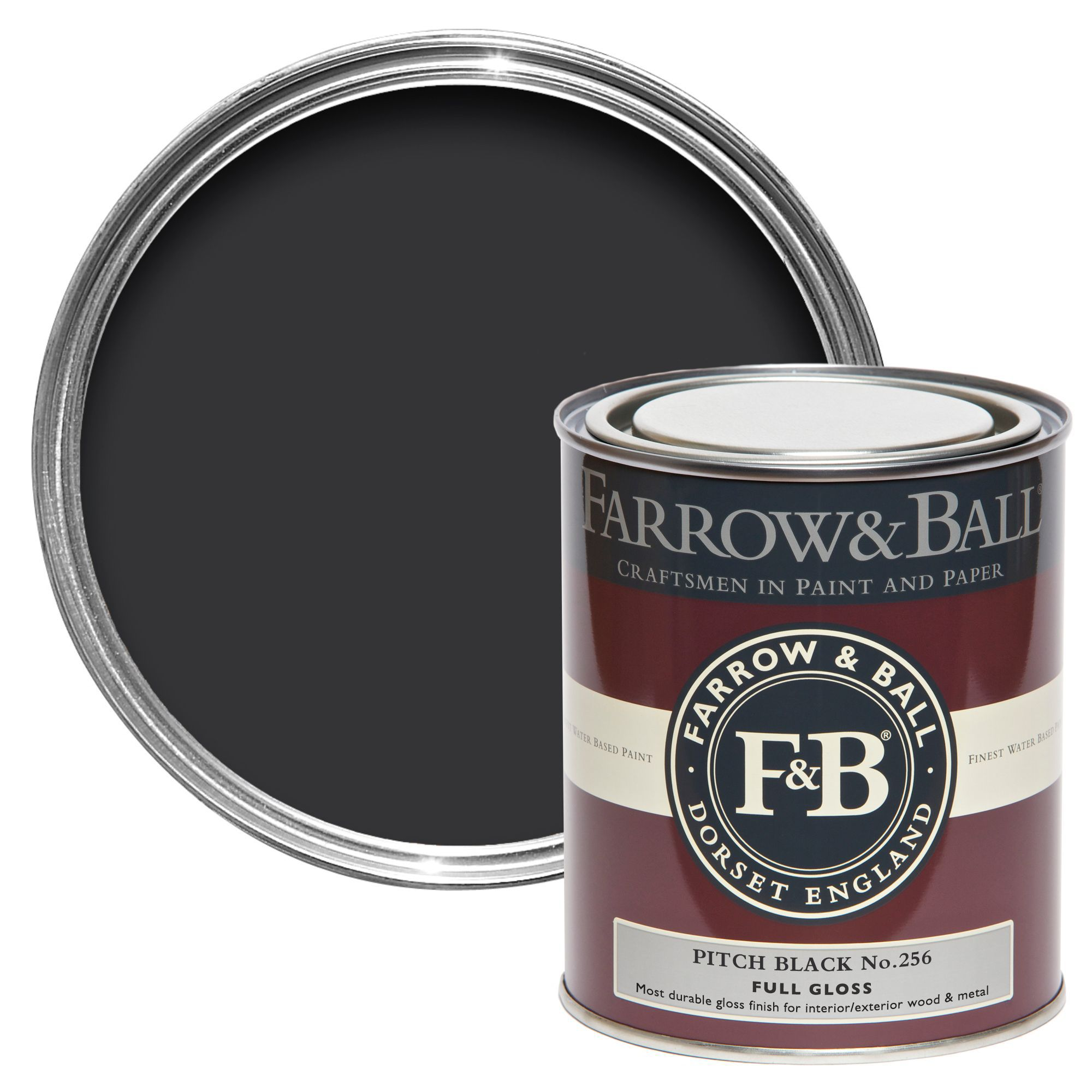 Farrow Ball Interior Exterior Pitch Black Gloss Paint 750ml Departments Diy At B Q