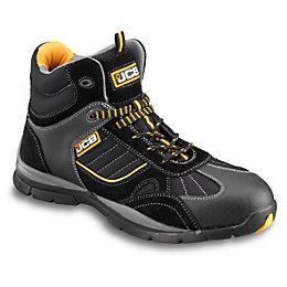 JCB Black Suede Leather & Mesh Steel Toe