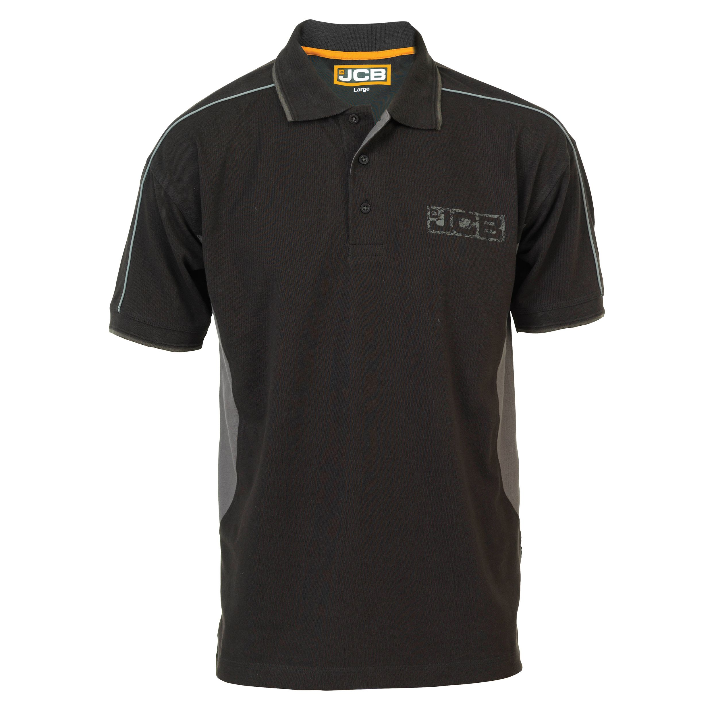 Jcb Black & Grey Fenton Polo Shirt Medium