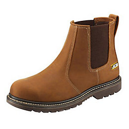 JCB Light Tan Soft Leather Steel Toe Cap