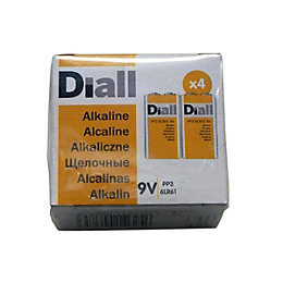 Diall PP3 Alkaline Battery, Pack of 4